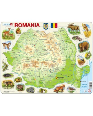 Puzzle Larsen - Physical Map of Romania, 68 piese (K67-RO)