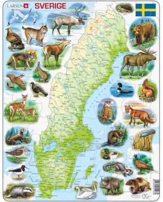 Puzzle Larsen - Physical Map of Sweden, 71 piese (K6-SE)