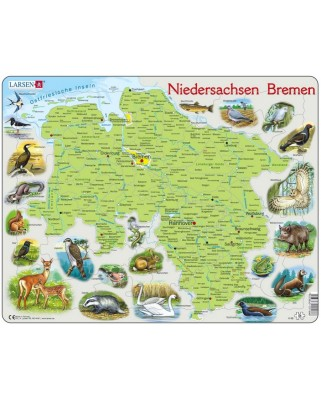 Puzzle Larsen - Map of Germany (Deutsch), 54 piese (K88-DE)