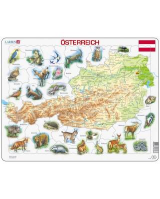Puzzle Larsen - Map Of Austria (Deutsch), 72 piese (K93-DE)