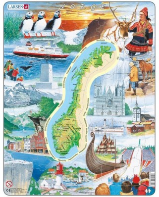 Puzzle Larsen - Physical map of Norway, 70 piese (KS1-NO)