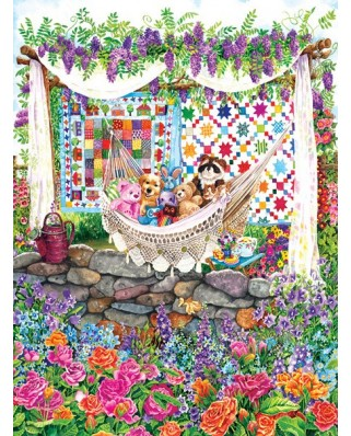 Puzzle Sunsout - Wendy Edelson : Garden Hammock, 1.000 piese (20219)