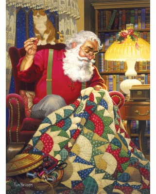 Puzzle Sunsout - Tom Newsom : Quilting Santa, 1.000 piese (23328)