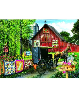 Puzzle Sunsout - Tom Wood: Amish Quilt Sale, 1.000 piese (28822)