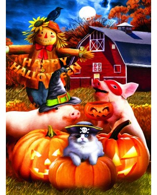 Puzzle Sunsout - Tom Wood: Happy Halloween, 1.000 piese (28856)