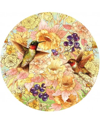 Puzzle rotund Sunsout - Giordano Studios: Hummingbirds and Berries, 1.000 piese (37172)