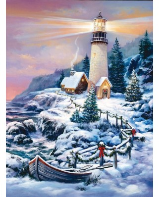 Puzzle Sunsout - Sandra Bergeron : Christmas Lighthouse, 1.000 piese (49152)