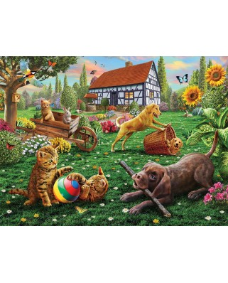 Puzzle Sunsout - Adrian Chesterman: Dogs and Cats at Play, 1.000 piese (51884)