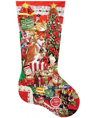 Puzzle contur Sunsout - Lori Schory : Kitty Stocking, 800 piese XXL (96014)