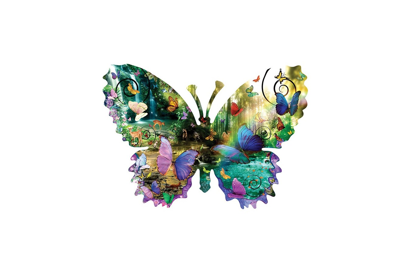 Puzzle contur Sunsout - Alixandra Mullins: Forest Butterfly, 1.000 piese XXL (96024)