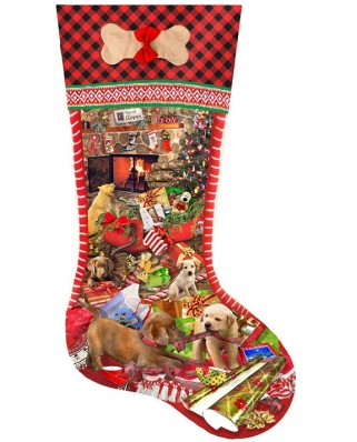 Puzzle contur Sunsout - Lori Schory : Puppy Stocking, 800 piese XXL (96028)