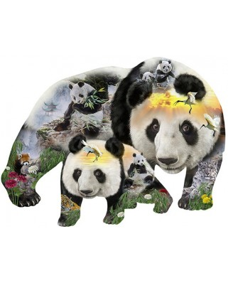 Puzzle contur Sunsout - J.M.M. & Jurek Zamoyski : Panda-Monuim, 1.000 piese XXL (96043)