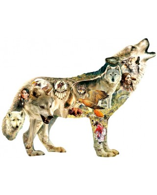 Puzzle contur Sunsout - Greg Giordano: Native American Wolf, 750 piese XXL (96049)
