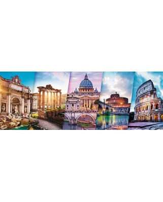 Puzzle panoramic Trefl - Collage - Rome, 500 piese (29505)