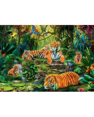 Puzzle Jumbo - Family of tigers at the Oasi, 1.000 piese (17245)