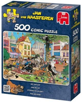 Puzzle Jumbo - Jan Van Haasteren: Catch me this cat, 500 piese (17277)