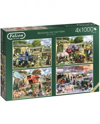 Puzzle Jumbo - Kevin Walsh: Seasons on the Farm, 4x1.000 piese (11181)
