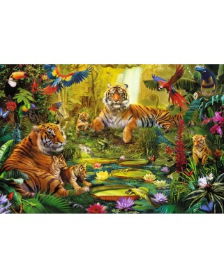 Puzzle Jumbo - Tiger Family in the jungle, 1500 piese (18525)