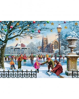 Puzzle Jumbo - Vic McLindon : Festive Skaters, 1.000 piese (11185)
