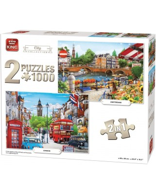 Puzzle King - Amsterdam & London, 2x1.000 piese (85516)