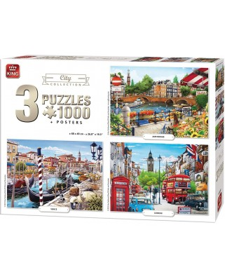 Puzzle King - City Collection, 3x1.000 piese (05205)