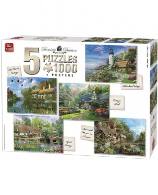 Puzzle King - Dominic Davison: Cottages, 5x1.000 piese (85514)