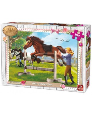 Puzzle King - Girls & Horses, 100 piese (05295)