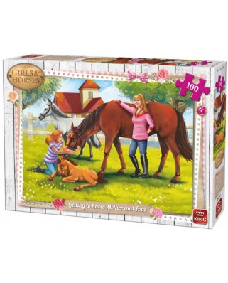 Puzzle King - Girls & Horses, 100 piese (05297)