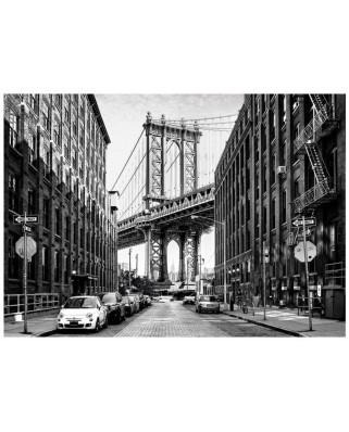 Puzzle Dino - Street of Manhattan, 1.000 piese alb-negru (62957)