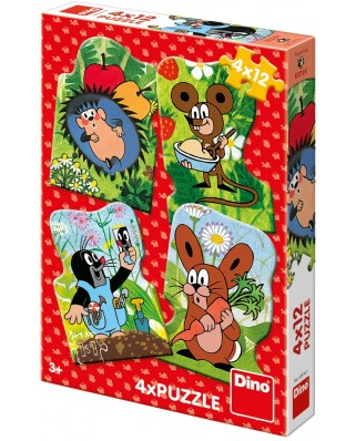 Puzzle Dino - The Little Mole, 4x12 piese (62877)