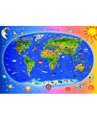 Puzzle Dino - World Map for Kids, 300 piese (62917)